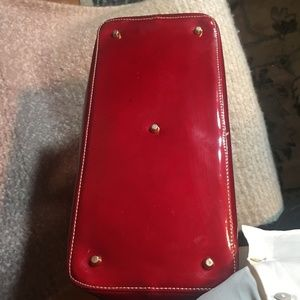 Arcadia Bags - ARCADIA Ruby Red Patent Leather Top Handle Purse
